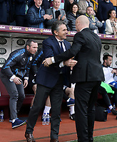 Leicester City manager Claude Puel is greeted by Burnley manager Sean Dyche ahead of kick-off<br /> <br /> Photographer Rich Linley/CameraSport<br /> <br /> The Premier League - Burnley v Leicester City - Saturday 14th April 2018 - Turf Moor - Burnley<br /> <br /> World Copyright &copy; 2018 CameraSport. All rights reserved. 43 Linden Ave. Countesthorpe. Leicester. England. LE8 5PG - Tel: +44 (0) 116 277 4147 - admin@camerasport.com - www.camerasport.com