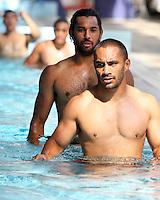 Warriors Thomas Leuluai at their pool session after training at Carisbrook, Moana pool, Dunedin, New Zealand, Friday, February 20, 2013. Credit:NINZ / Dianne Manson.