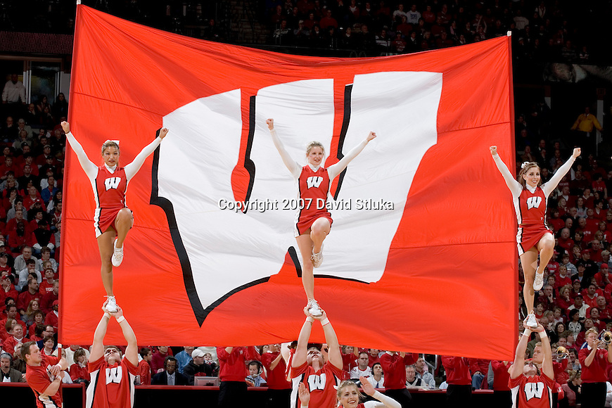 MADISON, WI - FEBRUARY 03: The cheerleaders of the Wisconsin Badgers perform during the game against the Northwestern Wildcats at the Kohl Center on February 3, 2007 in Madison, Wisconsin. The Badgers beat the Wildcats 69-52. (Photo by David Stluka)