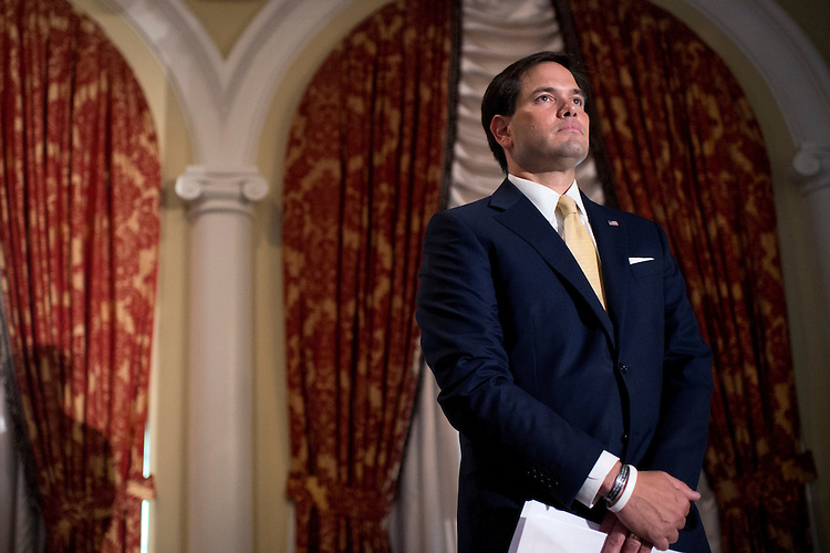 UNITED STATES - JUNE 18: Sen. Marco Rubio, R-Fla., prepares to address the Faith & Freedom Coalition's Road to Majority conference which featured speeches by conservative politicians at the Omni Shoreham Hotel, June 18, 2015. (Photo By Tom Williams/CQ Roll Call)
