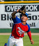 WATERBURY,  CT-072719JS40-- Cyclones Ponce's Michael Alicea (3) makes a running catch in right field during their Mickey Mantle World Series game against D-Bat's (Texas) Saturday at Municipal Stadium in Waterbury.  <br /> Jim Shannon Republican-American