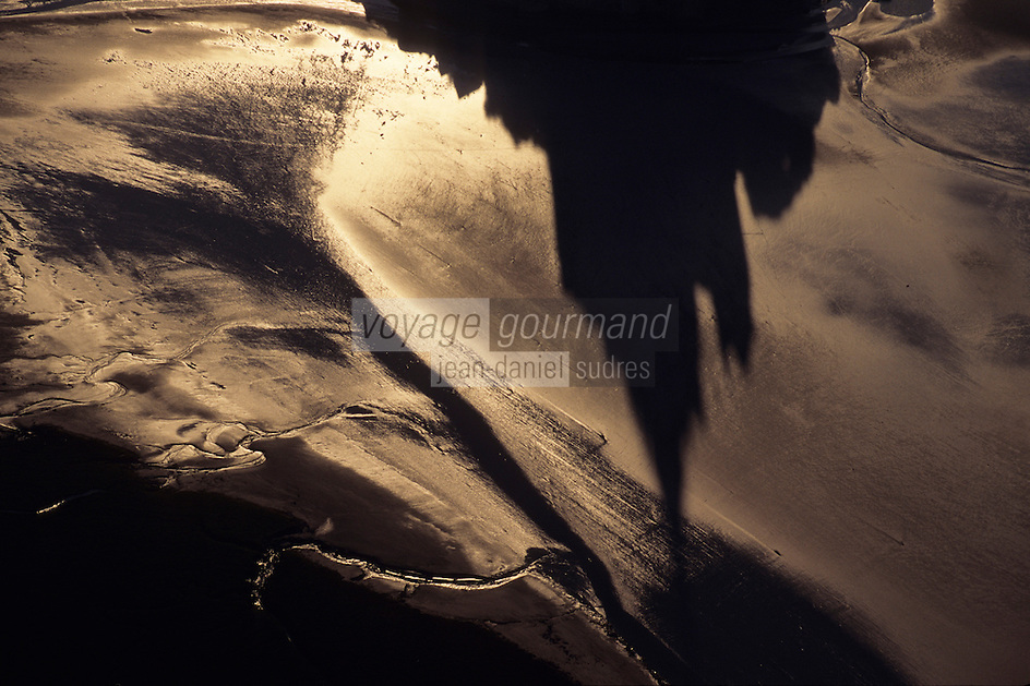 Europe/France/Normandie/Basse-Normandie/50/Manche/Mont Saint-Michel: L'ombre du Mont en vue aérienne