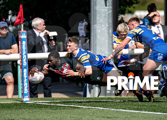 London Broncos u19's in action against Leeds Rhinos u19's prior to the Betfred Super League match between London Broncos and Leeds Rhinos at Castle Bar , West Ealing , England  on 1 September 2019. Photo by Liam McAvoy.
