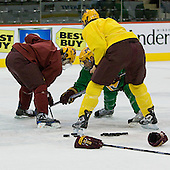 takes part in the Gophers' morning skate at the Xcel Energy Center in St. Paul, Minnesota, on Friday, October 12, 2007, during the Ice Breaker Invitational.