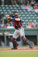 Catcher Brett Cumberland (28) of the Rome Braves throws to first in a game against the Greenville Drive on Wednesday, May 31, 2017, at Fluor Field at the West End in Greenville, South Carolina. Greenville won, 7-1. (Tom Priddy/Four Seam Images)