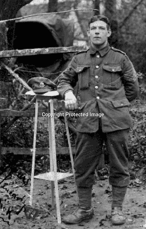 "11/06/16<br /> <br /> Collect photo of Charles Shaw.<br /> <br /> One hundred years have passed since Private Charles Gordon Shaw was fatally wounded in the Battle of the Somme, but today is the first day his family have been able to grieve at his graveside.<br /> <br /> Full Story: https://fstoppressblog.wordpress.com/private_charles_shaw/<br /> <br /> <br /> That's because his grave was ""lost"" during a changeover in church vicars and when the Commonwealth War Graves Commission tried to place a headstone on his plot in 1926, the new vicar was unable to tell them where the body was buried.<br /> <br /> But today, thanks to detective work by his  niece, 83-year-old Dorris Innes from Spondon, together with an amateur historian who located the 'lost' grave, Private Shaw's family were finally able to pay their respects to the war hero, with a commemorative service at his grave, exactly 100 years to the day since he was buried at Christ Church in Stonegravels, Chesterfield.<br /> <br /> All Rights Reserved, F Stop Press Ltd."