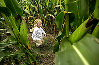 Three-year-old Elizabeth Claire Harrison of Carthage, NY, runs through a corn field in the Remsen Depot Corn Maze, in Remsen, NY on Saturday, September 21, 2002.  The Corn Maze is a project of the Remsen Depot volunteers, to raise money for more improvements at the restored depot.