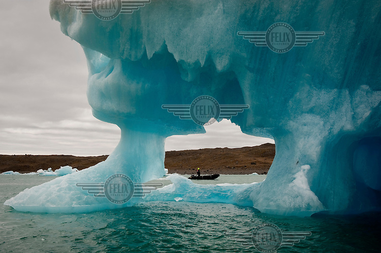 Icebergs in the Jokulsarlon Glacial River Lagoon, which have broken off from Vatnajokull, Europe's largest ice cap and glacier which covers over 8% of Iceland.