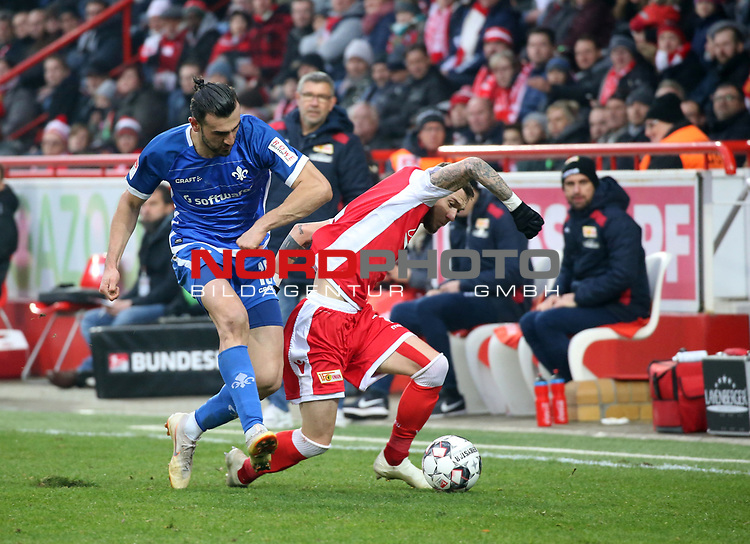 01.12.2018, Stadion an der Wuhlheide, Berlin, GER, 2.FBL, 1.FC UNION BERLIN  VS.SV Darmstadt 98, <br /> DFL  regulations prohibit any use of photographs as image sequences and/or quasi-video<br /> im Bild Marcel Hartel (1.FC Union Berlin #7), Serdar Dursun (Darmstadt #19)<br /> <br /> <br />      <br /> Foto © nordphoto / Engler