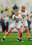 21 April 2012: University of Vermont Catamount midfielder Emma Kelly, a Junior from Redding, CT, in action against the Binghamton University Bearcats at Virtue Field in Burlington, Vermont. The Lady cats defeated the visiting Lady Bearcats 12-7. Mandatory Credit: Ed Wolfstein Photo