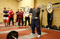 Photo: Richard Lane/Richard Lane Photography. RFU Rugby Fitness for Young Players Ð a pilot continuing professional development event at Warwick School. 06/01/2011. .Neil Taylor Ð RFU Strength and Power Coach presents Olympic lifts.