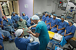 Training of MSF surgical team in Ramtha, Jordan hospital for treating Syrian war victims.