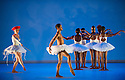 London, UK. 17.06.2014. Dada Masilo's SWAN LAKE at Sadler's Wells, as part of the Sadler's Sampled two week festival. Picture shows: Nicola Haskins (Siegfried's Mother - red hat). Photograph © Jane Hobson.