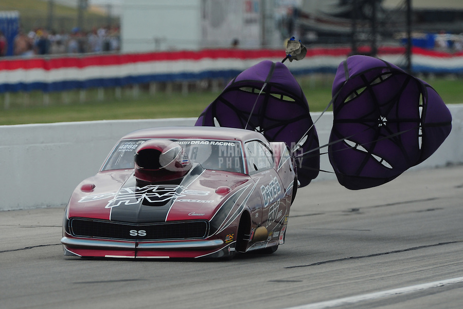 Sept. 4, 2011; Claremont, IN, USA: NHRA pro mod driver Mike Castellana during qualifying for the US Nationals at Lucas Oil Raceway. Mandatory Credit: Mark J. Rebilas-