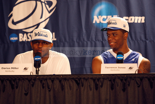 UK senior Darius Miller and UK sophomore Terrence Jones answer questions during UK's interview session at the KFC Yum! Center March 14, 2012. Photo by Brandon Goodwin | Staff