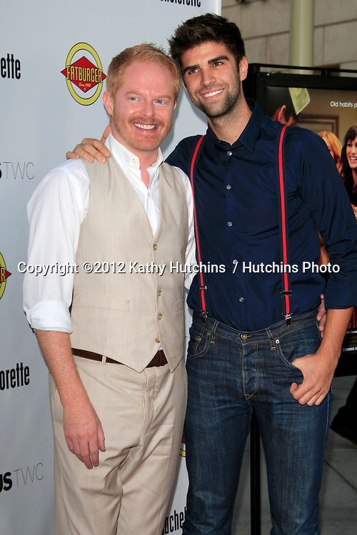 "LOS ANGELES - AUG 23:  Jesse Tyler Ferguson, Justin Mikita arrives at the ""Bachelorette"" Premiere at ArcLight Cinema Theaters on August 23, 2012 in Los Angeles, CA"