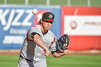 Albuquerque Isotopes starting pitcher Jon Gray (55) warms up in the bullpen before the game against the Salt Lake Bees in Pacific Coast League action at Smith's Ballpark on June 27, 2015 in Salt Lake City, Utah. The Bees defeated the Isotopes 8-6. (Stephen Smith/Four Seam Images)