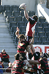 Andrew Van der Heijden claims lineout ball during the Ranfurly Shield challenge against Canterbury at Jade Stadium on the 10th of September 2006. Canterbury won 32 - 16.
