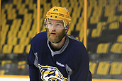 June 11th 2017, Nashville, TN, USA;  Nashville Predators defenseman Mattias Ekholm (14) is shown during the morning skate prior to Game 6 of the Stanley Cup Final between the Nashville Predators and the Pittsburgh Penguins, held on June 11, 2017, at Bridgestone Arena in Nashville, Tennessee.