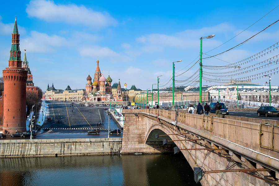 MOSCOW - CIRCA MARCH 2013: Bridge leading to the Red Square in Moscow circa 2013. With a population of more than 11 million people is one the largest cities in the world and a popular tourist destination.