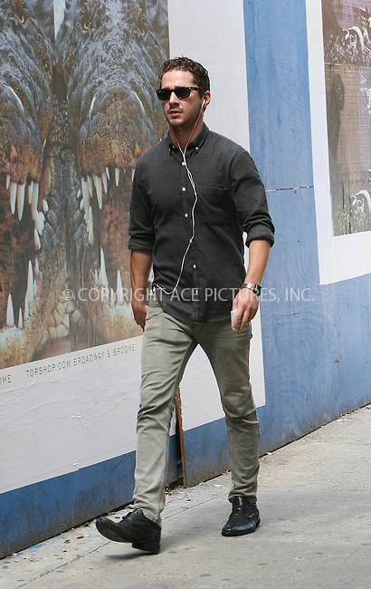 WWW.ACEPIXS.COM . . . . .  ....September 6 2009, New York City....'Transformers' actor Shia Labeouf was seen returning to his Soho hotel with a carton of Epsom Salts, which either means he's constipated, or that he needed to soak his recently injured arm on September 6 2009 in New York City....Please byline: NANCY RIVERA- ACE PICTURES.... *** ***..Ace Pictures, Inc:  ..tel: (212) 243 8787 or (646) 769 0430..e-mail: info@acepixs.com..web: http://www.acepixs.com