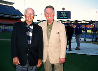 Los Angeles Dodgers broadcasters Jerry Dogett and Vin Scully at Dodger Stadium in Los Angeles,California during the 1996 season. (Larry Goren/Four Seam Images)