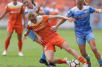 Houston, TX - Saturday April 15, 2017: Janine Beckie battles Stephanie McCaffrey and Alyssa Mautz for control of the ball during a regular season National Women's Soccer League (NWSL) match won by the Houston Dash 2-0 over the Chicago Red Stars at BBVA Compass Stadium.