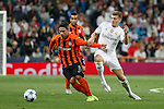 Real Madrid´s Toni Kroos (R) and Shakhtar Donetsk´s Marlos during Champions League soccer match between Real Madrid and Shakhtar Donetsk at Santiago Bernabeu stadium in Madrid, Spain. Spetember 15, 2015. (ALTERPHOTOS/Victor Blanco)
