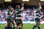 Cardiff Blues v Leicester Tigers - Heineken Cup Semi-Final at the Millennium Stadium in Cardiff..Leicester Tigers players salute the fans after beating the Cardiff Blues in a penalty shoot out..