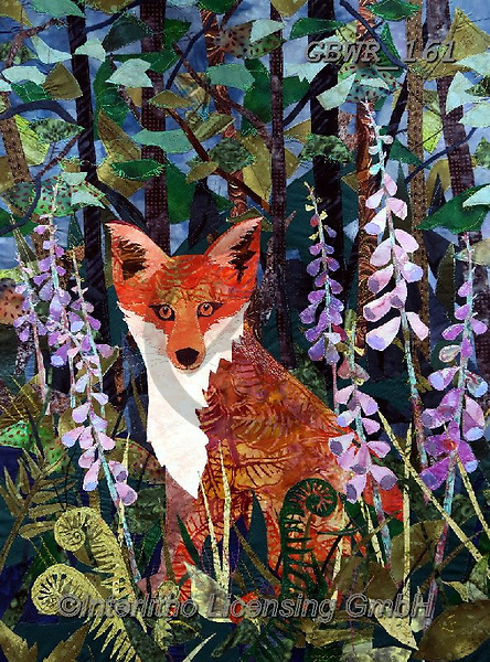 Simon, REALISTIC ANIMALS, REALISTISCHE TIERE, ANIMALES REALISTICOS, innovative, paintings+++++KateFindlay_FoxInFoxgloves,GBWR161,#a#, EVERYDAY