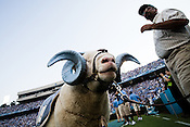 August 30, 2008. Chapel Hill, NC..  In the opening game of the season, the UNC Tarheels beat McNeese State 35- 27 in a game delayed by foul weather.. The infamous ram.