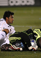 Colorado Rapids goalkeeper Bouna Coundel winces in pain after a colision with LA Galaxy forward Carlos Ruiz during an MLS regular season match at Dicks Sporting Goods Park in Commerce City, Colorado on March 29, 2008. The Rapids defeated the Galaxy 4-0.