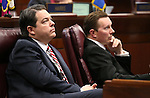 Nevada Senate Republicans Michael Roberson and Ben Kieckhefer work on the Senate floor at the Legislative Building in Carson City, Nev., on Tuesday, April 21, 2015. <br /> Photo by Cathleen Allison
