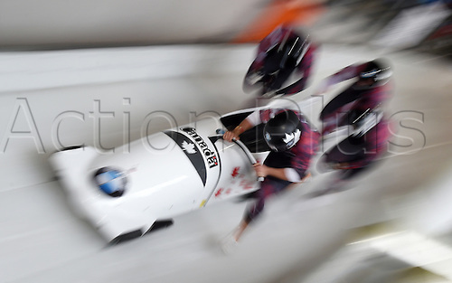 28.02.2016. Koenigssee, Germany.  A four-man bob team takes off during the Bobsled World Cup in Koenigssee, Germany, 28 February 2016.