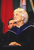 First lady Barbara Bush attends the graduation ceremony at Wellesley College in Wellesley, Massachusetts on June 1, 1990. <br /> Credit: Rob Crandall / Pool via CNP