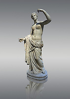Statue of Venus, 1st 2nd century Roman. This Roman sculpture retains elements of a lost 4th century BC Aphrodite of Cnidos sculpture by Athenian sculpture Praxiteles. In this version Venus no longer hides her modesty and stands with an arm raised revealing her breasts. British Museum, London.