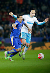Leonardo Ulloa of Leicester City comp[etes with Jonjo Shelvey of Newcastle United during the Barclays Premier League match at The King Power Stadium.  Photo credit should read: Malcolm Couzens/Sportimage