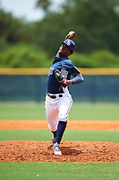 GCL Rays relief pitcher Reynier Montero (15) delivers a pitch during the first game of a doubleheader against the GCL Twins on July 18, 2017 at Charlotte Sports Park in Port Charlotte, Florida.  GCL Twins defeated the GCL Rays 11-5 in a continuation of a game that was suspended on July 17th at CenturyLink Sports Complex in Fort Myers, Florida due to inclement weather.  (Mike Janes/Four Seam Images)