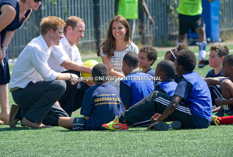 "CATHERINE, DUCHESS OF CAMBRIDGE, PRINCE WILLIAM AND PRINCE HARRY.attend the sports-themed event, to launch the Coach Core programme, a partnership between their Foundation and Greenhouse at Bacon's College, South London_19/07/2012.Mandatory credit photo: ©Dias/NEWSPIX INTERNATIONAL..(Failure to credit will incur a surcharge of 100% of reproduction fees)..                **ALL FEES PAYABLE TO: ""NEWSPIX INTERNATIONAL""**..IMMEDIATE CONFIRMATION OF USAGE REQUIRED:.Newspix International, 31 Chinnery Hill, Bishop's Stortford, ENGLAND CM23 3PS.Tel:+441279 324672  ; Fax: +441279656877.Mobile:  07775681153.e-mail: info@newspixinternational.co.uk"