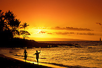 Sunset on the beach at Napili Bay, Kapalua, West coast Maui