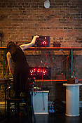 Durham, North Carolina - Thursday May 19, 2016 - Antenes gives a live performance of The Exchange: Switchboard Synthesizers at an evening show at The Carrack Thursday during Moogfest in Durham. Antenes houses patchable synthesizer circuits in obselete telephone switchboards.