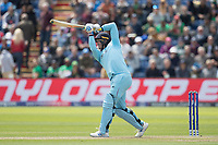 Jason Roy (England) drives Mohammad Saifuddin (Bangladesh) over long off for a straight six during England vs Bangladesh, ICC World Cup Cricket at Sophia Gardens Cardiff on 8th June 2019