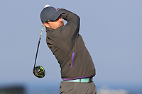 David Reddan Jnr on the 1st tee during Round 4 of The West of Ireland Open Championship in Co. Sligo Golf Club, Rosses Point, Sligo on Sunday 7th April 2019.<br /> Picture:  Thos Caffrey / www.golffile.ie