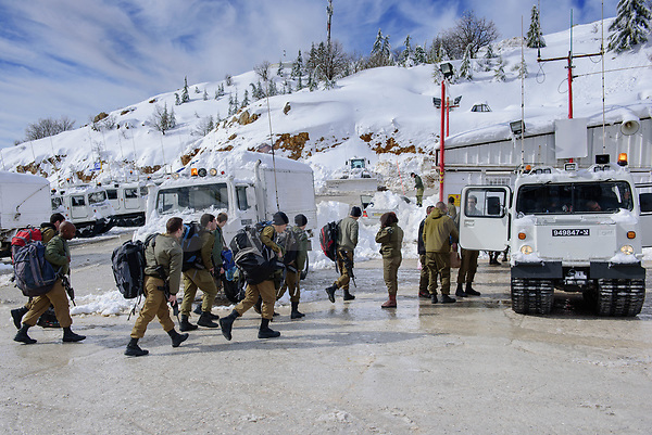Israeli soldiers arrive at a military base in the Hermon ski resort, in the Israeli-occupied Golan Heights, on January 10, 2019. Photo by: Ayal Margolin-JINIPIX