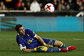 9th January 2018, Mestalla Stadium, Valencia, Spain; Copa del Rey football, round of 16, second leg, Valencia versus Las Palmas; Raul Lizoain, goalkeeper for Las Palmas makes the save down low