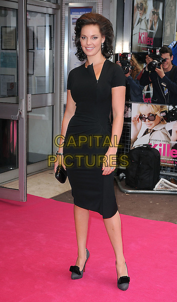 KATHERINE HEIGL .UK Film Premiere of 'Killers' at the Odeon West End, Leicester Square, London, London, England, UK, .June 9th 2010..full length dress grey gray shoes heels black clutch bag slit slash neck wrist watch .CAP/BEL.©Tom Belcher/Capital Pictures.