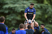 Elliott Stooke of Bath Rugby wins the ball at a lineout. Bath Rugby pre-season training on August 14, 2018 at Farleigh House in Bath, England. Photo by: Patrick Khachfe / Onside Images