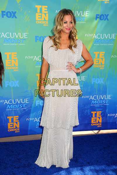Kaley Cuoco.2011 Teen Choice Awards - Arrivals held at Gibson Amphitheatre, , Universal City, California, USA..August 7th, 2011.full length grey gray dress maxi hands on hips tiered layered layers .CAP/ADM/BP .©Byron Purvis/AdMedia/Capital Pictures.