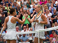 London, England, 2 July, 2016, Tennis, Wimbledon, Kiki Bertens (NED) (R) congratulates Simona Halep (ROU) with her win<br /> Photo: Henk Koster/tennisimages.com