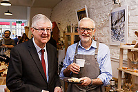 Pictured: Jeremy Corbyn (R) with First Minister for Wales Mark Drakeford, try the welsh cakes and coffee at Awesome Wales, a zero waste shop in Barry. Saturday 07 December 2019<br /> Re: Labour Party leader Jeremy Corbyn pre-election campaign in Barry, south Wales, UK.